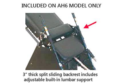 Sport Model AH6 Has Divided or Split Sliding Backrest with built-in adjustable lumbar support and 3 inch thick padding