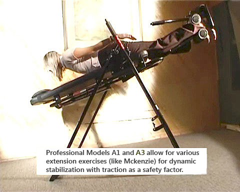 Professional Models Mastercare Tables Accommodate McKenzie Exercises for Dynamic Stabilization with Traction as a Safety Factor