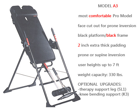 Model A3 is Mastercare's Comfort Enhanced Professional Use Inversion Unit