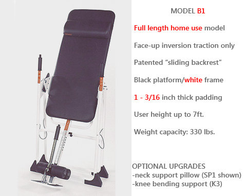 Model B1 is Mastercare's Full-size Home Use Inversion Unit