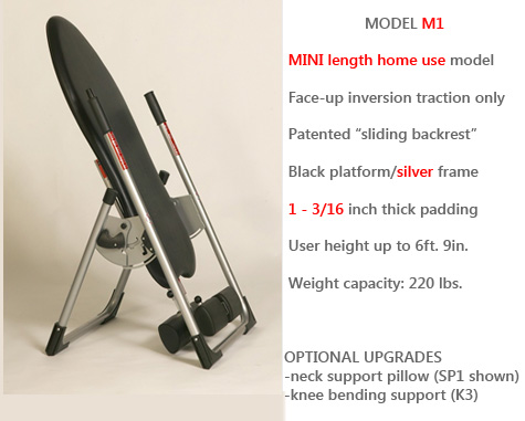 Model M1 is Mastercare's Most Compact and Economical Inversion Unit for Home Use