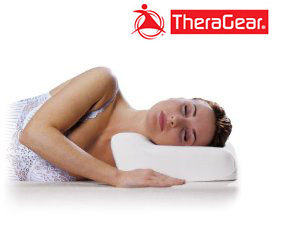 Laying on your side on a contoured neck support pillow by TheraGear